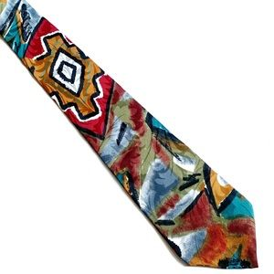 Giannelli Silk Multi color Abstract Neck Tie